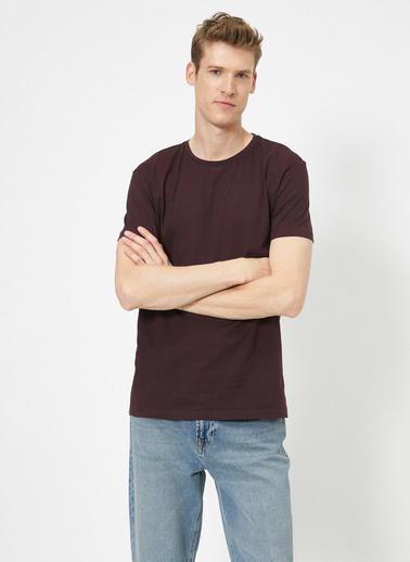 Koton Bisiklet Yaka %100 Pamuk Slim Fit Basic T-Shirt Bordo